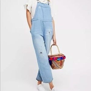 free people distressed overalls